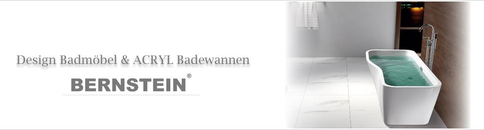 ... BERNSTEIN Design Badewanne Freistehende Wanne MAILAND ACRYL Armatur