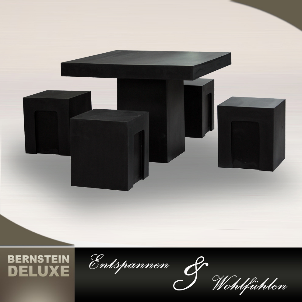b ware edle kunststein gartenm bel set 100x100cm fiberglas wei oder schwarz ebay. Black Bedroom Furniture Sets. Home Design Ideas
