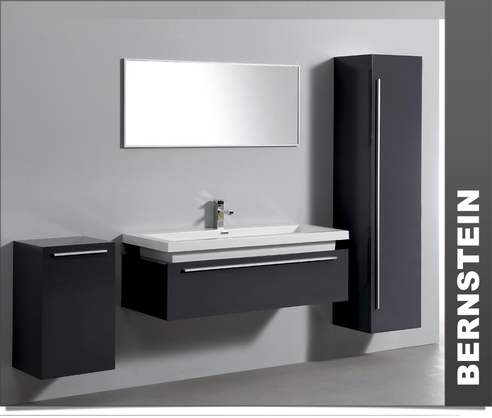 bernstein design badm belset badm bel badezimmer waschbecken spiegel anthrazit ebay. Black Bedroom Furniture Sets. Home Design Ideas