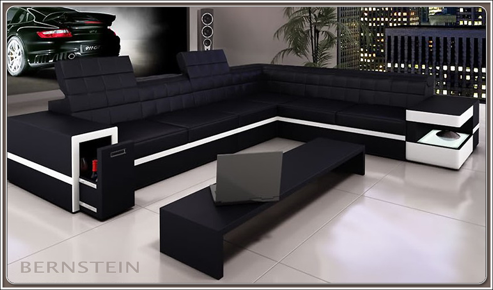bernstein xxl wohnlandschaft 6106 eck couch neu ledercouch sofagarnitur ebay. Black Bedroom Furniture Sets. Home Design Ideas