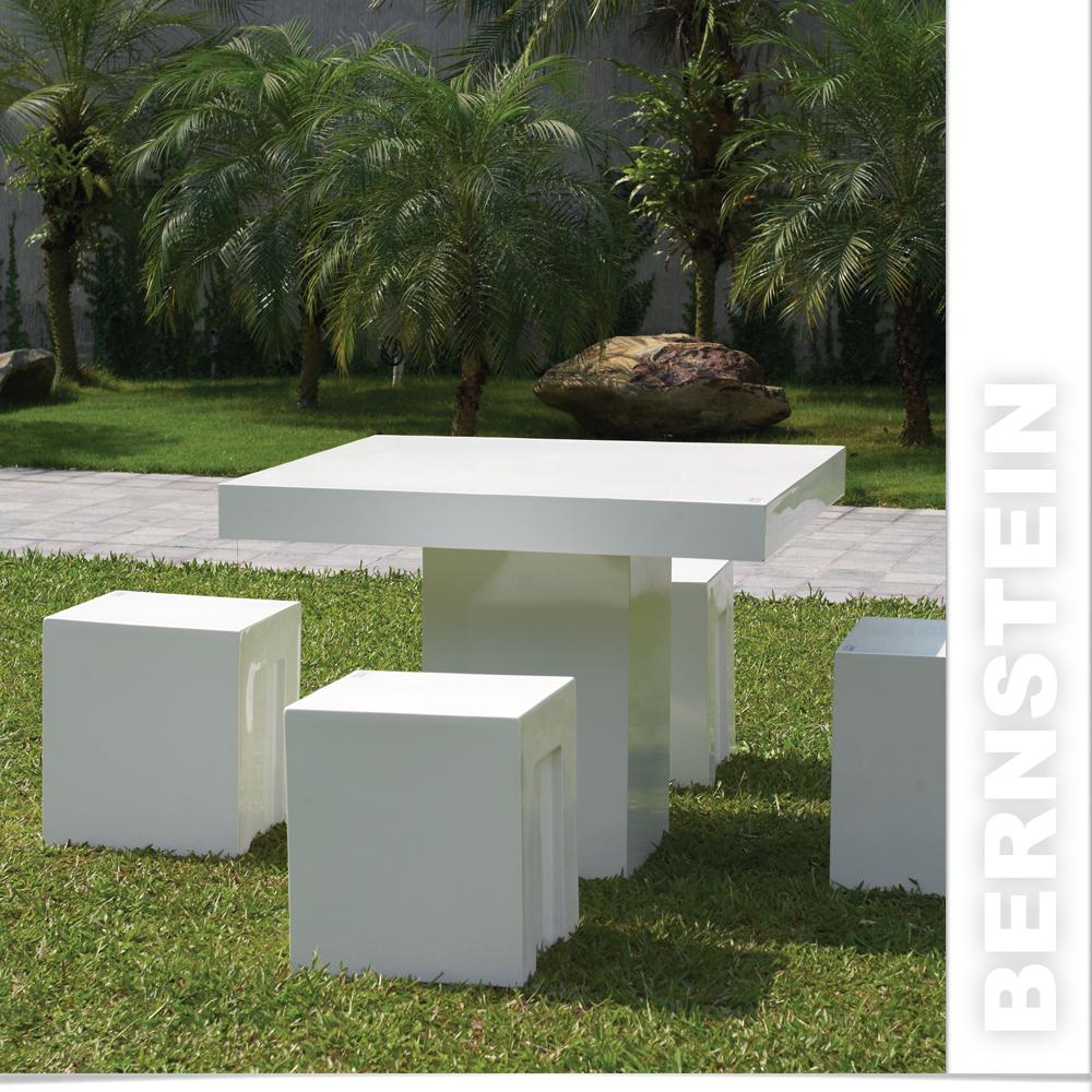 b ware edle kunststein gartenm bel set 100x100cm fiberglas wei oder schwarz ebay. Black Bedroom Furniture Sets. Home Design Ideas