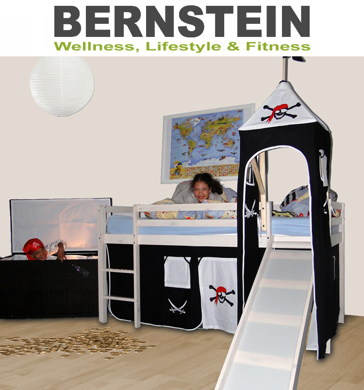 Bett-Kinderbett-Hochbett-Turm-Rutsche-Pirat