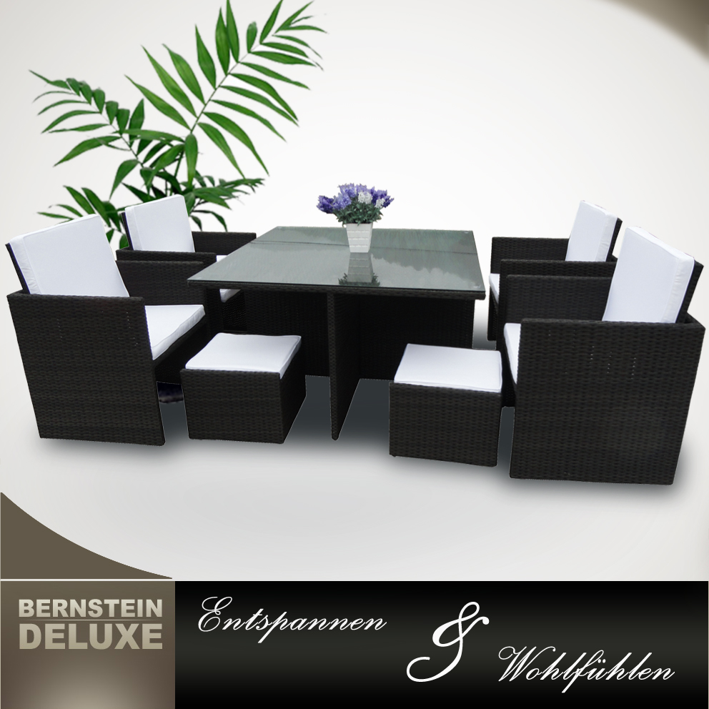 bernstein edler rattan tisch 6016 gartenm bel set alu polyrattan set 22tlg ebay. Black Bedroom Furniture Sets. Home Design Ideas
